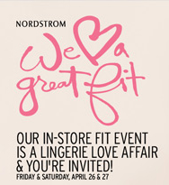 "Visit a Nordstrom near you for the ""We hear a great fit"" event taking place April 26-27."
