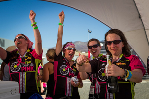 Me, at far right, with fellow survivors at the finish of the 2012 Tour de Pink.
