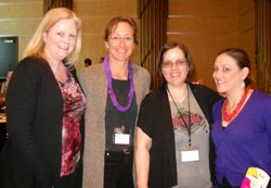 Kara, at right, at a metastatic breast cancer conference.