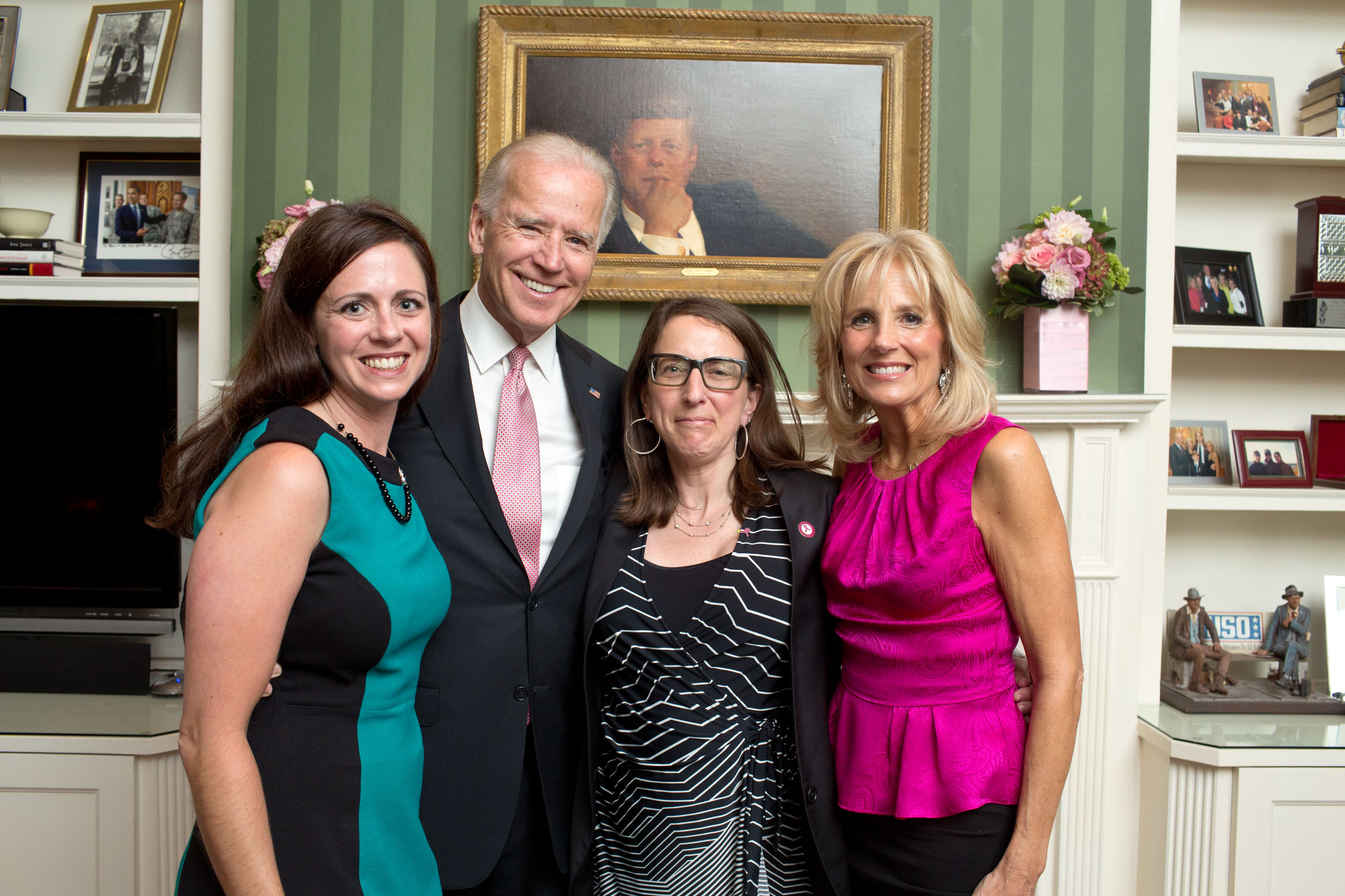 Vice President Joe Biden and Dr. Jill Biden do a photo line at a Breast Cancer Awareness month reception, in the library at the Naval Observatory Residence, in Washington, D.C., October 24, 2012. (Official White House Photo by David Lienemann)
