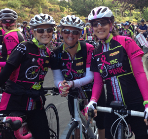 Me, at right, with fellow survivor Karin at the start of the 2012 YSC Tour de Pink West Coast.