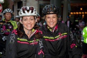Jen Merschdorf (left) at 2013 West Coast TdP, with YSC State Leader and survivor Kate McGough. (Photo by Capture 14)